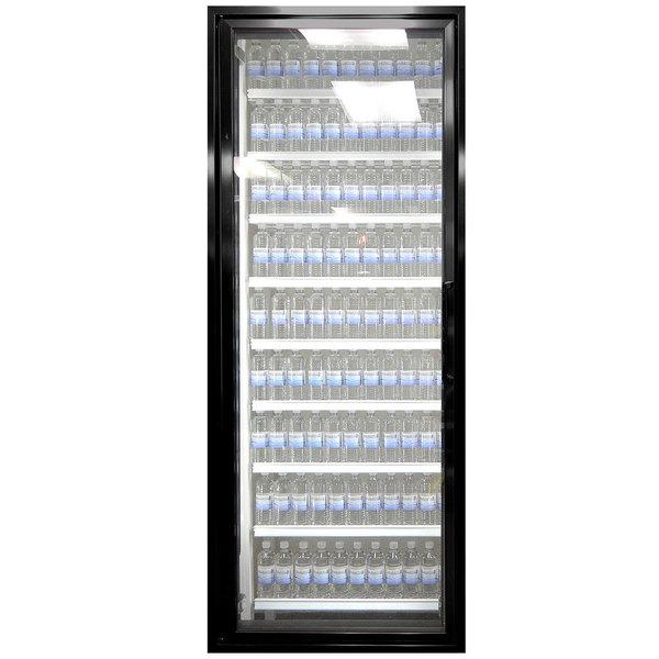 """Styleline CL3080-HH 20//20 Plus 30"""" x 80"""" Walk-In Cooler Merchandiser Door with Shelving - Satin Black, Left Hinge"""