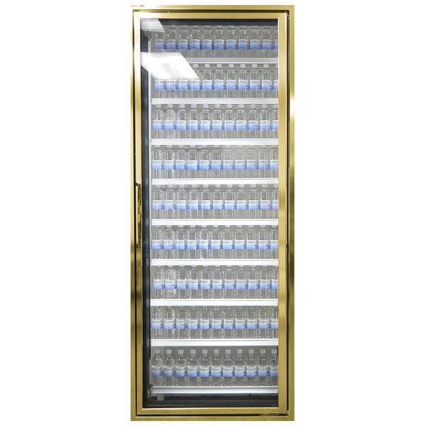 "Styleline CL2472-LT Classic Plus 24"" x 72"" Walk-In Freezer Merchandiser Door with Shelving - Anodized Bright Gold, Right Hinge"