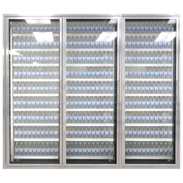"Styleline CL3080-HH 20//20 Plus 30"" x 80"" Walk-In Cooler Merchandiser Doors with Shelving - Anodized Satin Silver, Left Hinge - 3/Set"