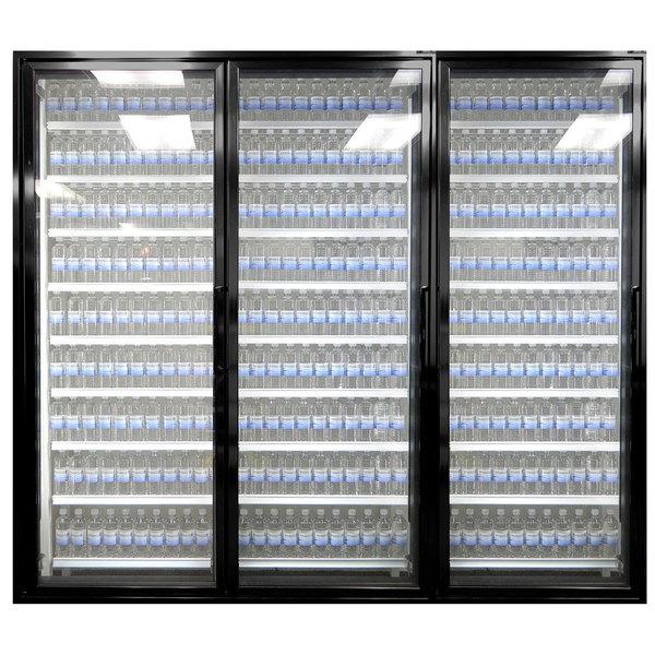 """Styleline CL3080-2020 20//20 Plus 30"""" x 80"""" Walk-In Cooler Merchandiser Doors with Shelving - Satin Black, Left Hinge - 3/Set"""