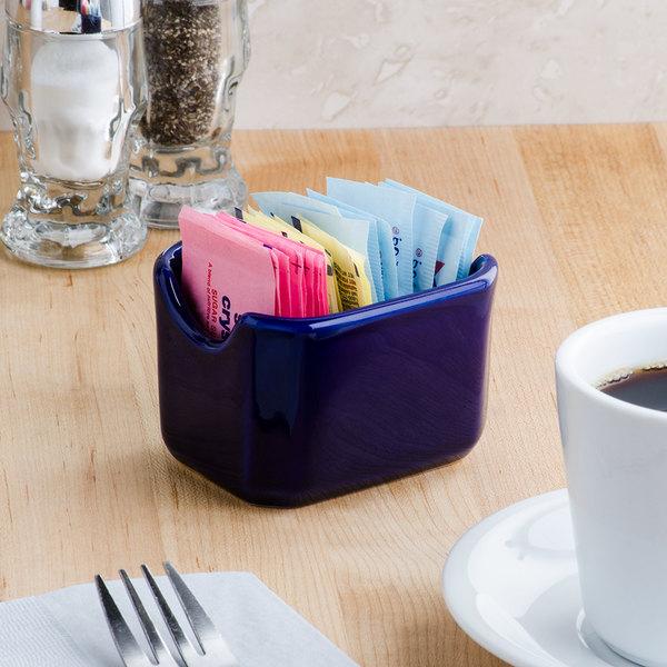 "Tuxton BCQ-034 DuraTux 3 1/2"" Cobalt Sugar Packet Holder - 12/Case"