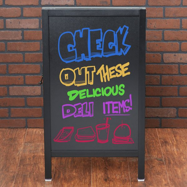 "Choice A-Frame Chalkboard Sidewalk Sign - Black Wood - 20"" x 34"" Main Image 3"