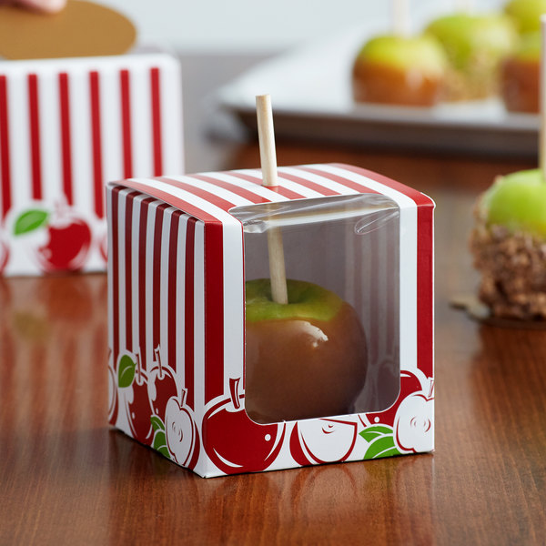 Baker's Mark Printed 1-Piece Candy Apple Box with Window - 10/Pack Main Image 4