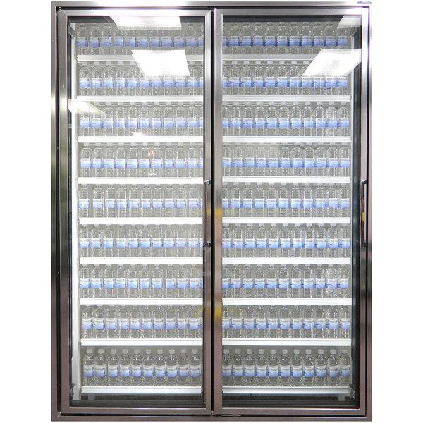 "Styleline CL2672-LT Classic Plus 26"" x 72"" Walk-In Freezer Merchandiser Doors with Shelving - Anodized Bright Silver, Left Hinge - 2/Set"