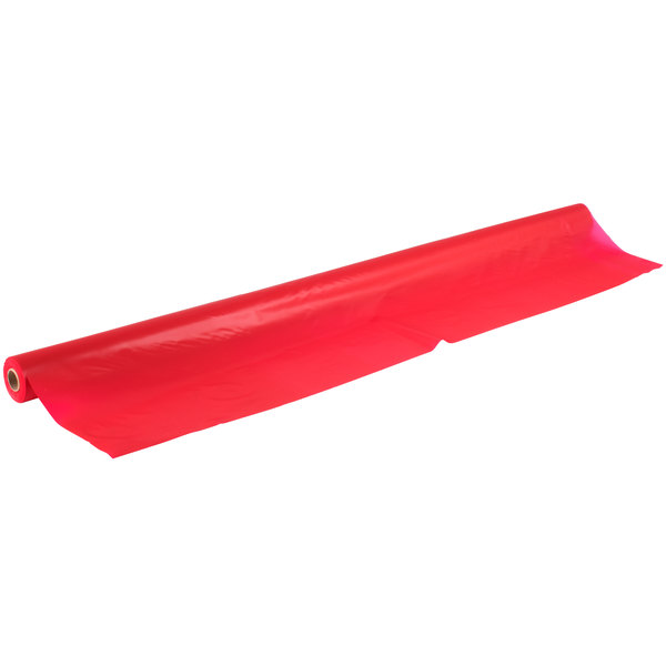 """Red 40"""" x 100' Plastic Table Cover Main Image 1"""