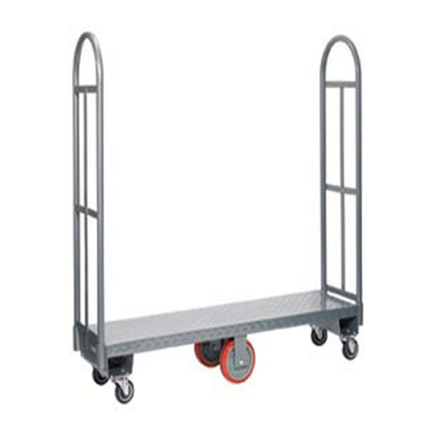 "Winholt 300-48D / PU U-Boat 16"" x 51"" Heavy Duty Utility Cart with Diamond Steel Deck - 2000 lb. Capacity"
