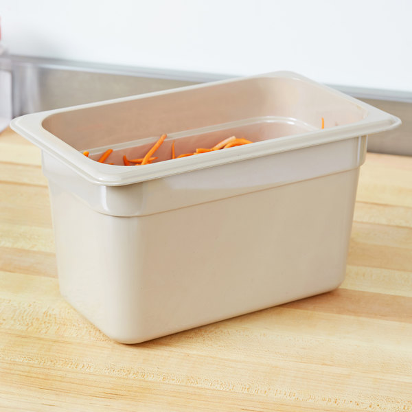 "Cambro 46HP772 X-Pan 1/4 Size Sandstone High Heat Food Pan - 6"" Deep"