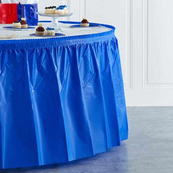 "Blue Plastic Table Skirt 14' x 29"" Main Image 4"
