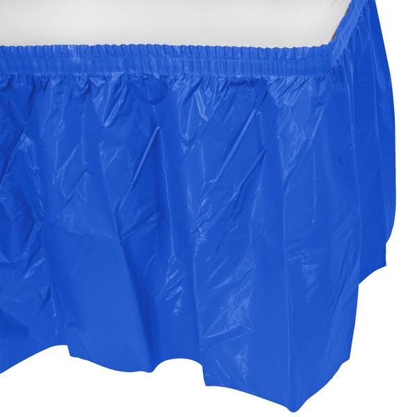 "Blue Plastic Table Skirt 14' x 29"""