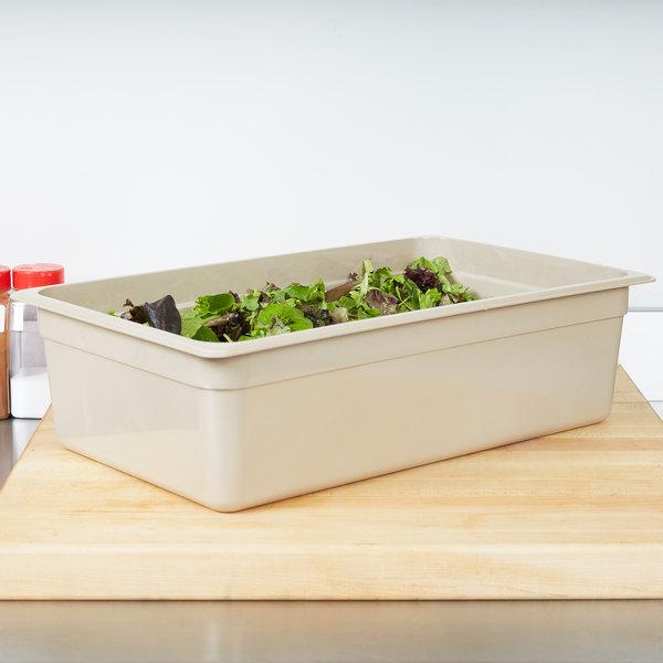 "Cambro 16HP772 X-Pan Full Size Sandstone High Heat Plastic Food Pan - 6"" Deep Main Image 3"