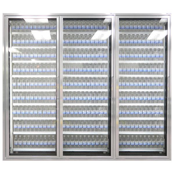 "Styleline CL3072-LT Classic Plus 30"" x 72"" Walk-In Freezer Merchandiser Doors with Shelving - Anodized Satin Silver, Left Hinge - 3/Set"
