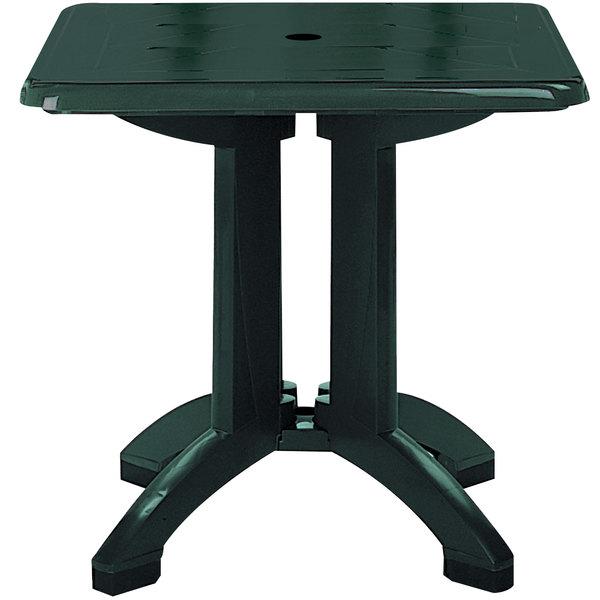 "Grosfillex US810078 Vega 32"" Square Resin Folding Outdoor Table with Umbrella Hole - Amazon Green Base"