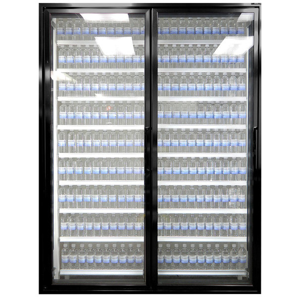 "Styleline CL3072-LT Classic Plus 30"" x 72"" Walk-In Freezer Merchandiser Doors with Shelving - Satin Black, Left Hinge - 2/Set"