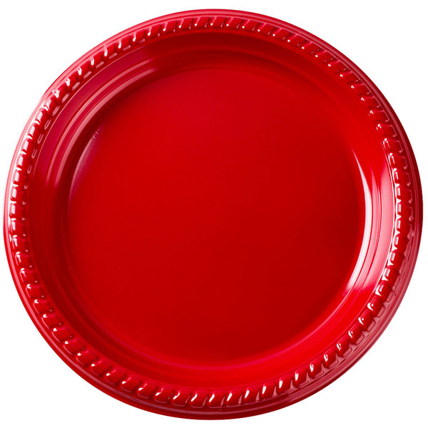Dart Solo PS15R-0099 10 1/4 inch Red Plastic Plate - 500/Case