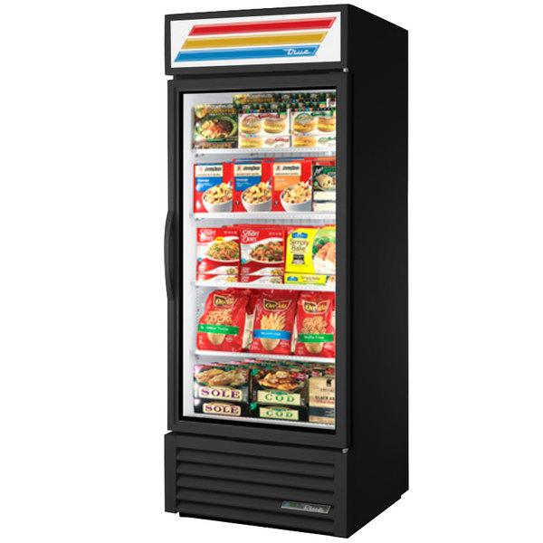 "True GDM-26F-HC~TSL01 30"" Black Glass Door Merchandiser Freezer with LED Lighting"