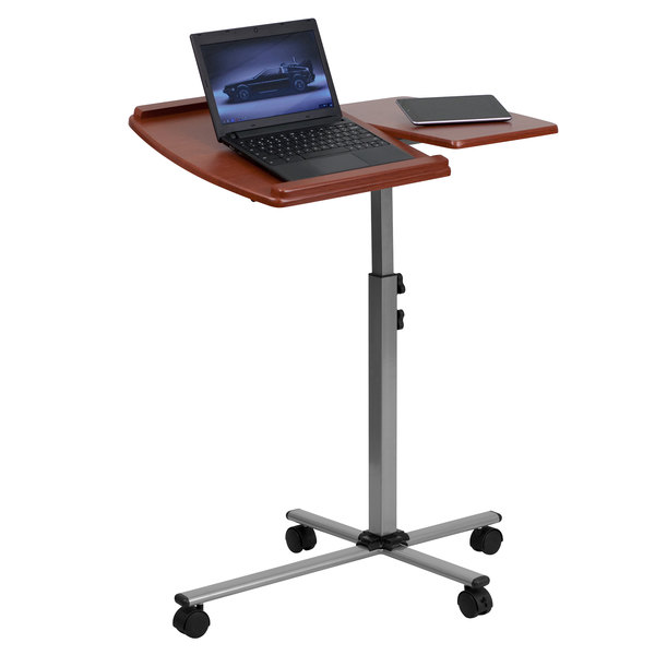 """Flash Furniture NAN-JN-2762-GG Adjustable Height Mobile Laptop Computer Table with Cherry Top - 29 1/4"""" x 17 1/2"""" Main Image 1"""