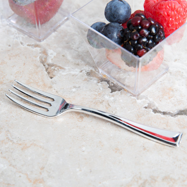 "Silver Visions 3 7/8"" Silver Plastic Tasting Fork - 400/Case"