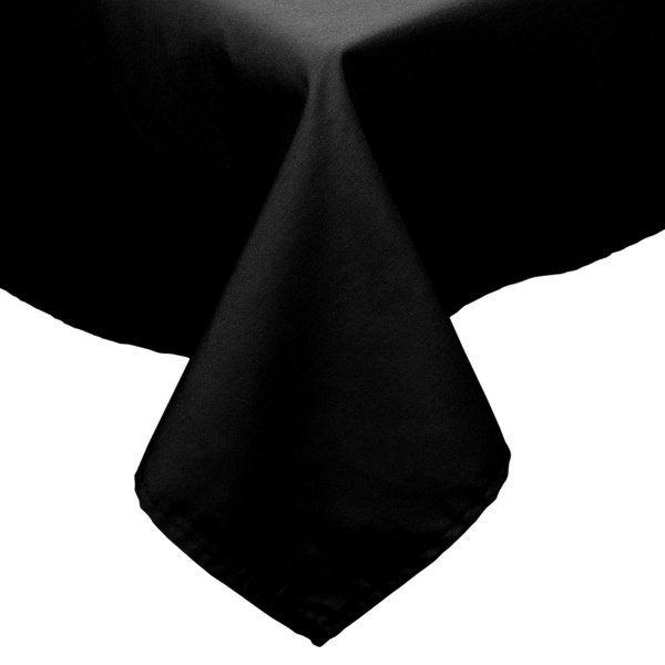"54"" x 96"" Black 100% Polyester Hemmed Cloth Table Cover"