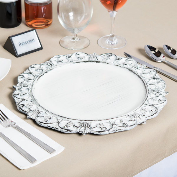 The Jay Companies 1270282 14  Round White Embossed Antique Melamine Charger Plate & The Jay Companies 1270282 14