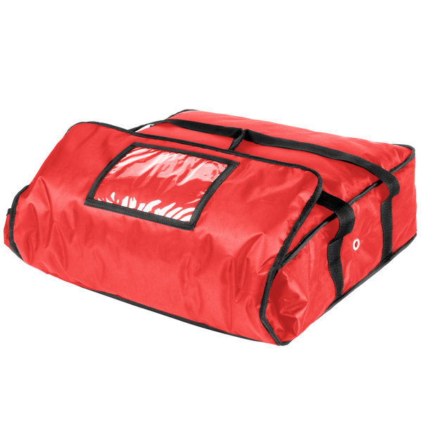 ServIt Insulated Pizza Delivery Bag, Red Soft-Sided Heavy-Duty Nylon, 18 inch x 18 inch x 5 inch - Holds Up To (2) 16 inch Pizza Boxes or (1) 18 inch Pizza Box