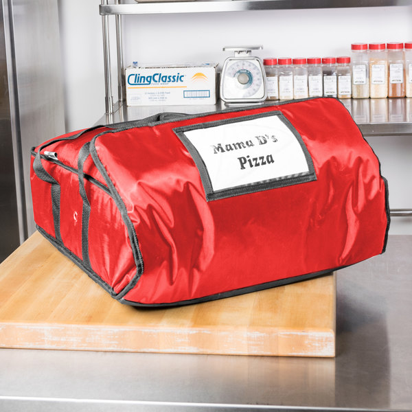 "ServIt Insulated Pizza Delivery Bag, Red Soft-Sided Heavy-Duty Nylon, 18"" x 18"" x 5"" - Holds Up To (2) 16"" Pizza Boxes or (1) 18"" Pizza Box"