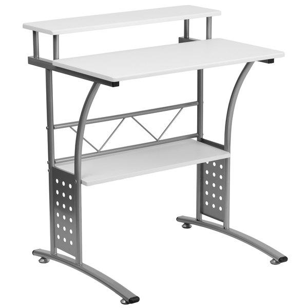 "Flash Furniture NAN-CLIFTON-WH-GG White Laminate Computer Desk with Metal Frame - 28"" x 23"" x 33"" Main Image 1"