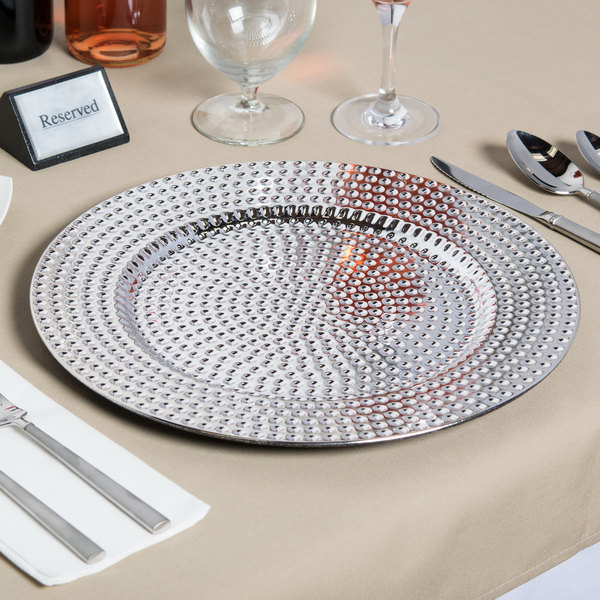 """The Jay Companies 1270276-4 13"""" Round Silver Beaded Plastic Charger Plate"""