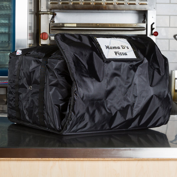 "ServIt Insulated Pizza Delivery Bag, Black Soft-Sided Heavy-Duty Nylon, 20"" x 20"" x 12"" - Holds Up To (6) 16"", (5) 18"", or (4) 20"" Pizza Boxes"