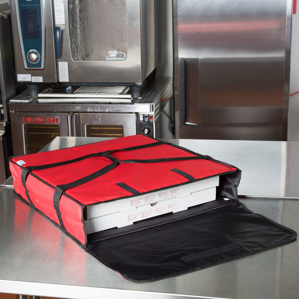 """Choice Insulated Pizza Delivery Bag, Red Nylon, 24"""" x 24"""" x 5"""" - Holds Up To (2) 20"""" or 22"""" Pizza Boxes or (1) 24"""" Pizza Box Main Image 4"""