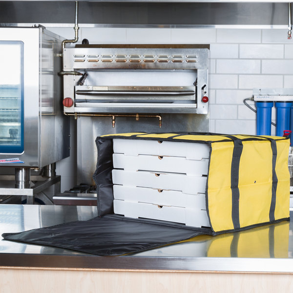 """Choice Soft-Sided Insulated Pizza Delivery Bag, Yellow Nylon, 20"""" x 20"""" x 12"""" - Holds Up To (6) 16"""", (5) 18"""", or (4) 20"""" Pizza Boxes"""