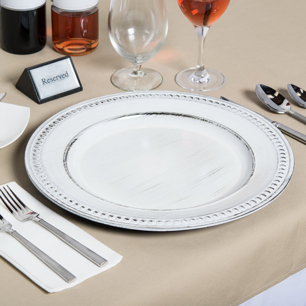 The Jay Companies 1270281 14  Round White Beaded Antique Melamine Charger Plate & The Jay Companies 1270281 14