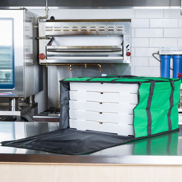 "Choice Insulated Pizza Delivery Bag, Green Nylon, 20"" x 20"" x 12"" - Holds Up To (6) 16"", (5) 18"", or (4) 20"" Pizza Boxes Main Image 4"