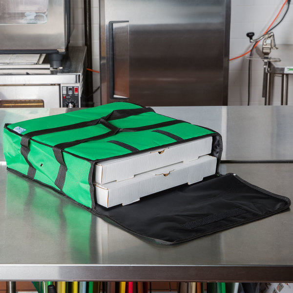 """Choice Soft-Sided Insulated Pizza Delivery Bag, Green Nylon, 18"""" x 18"""" x 5"""" - Holds Up To (2) 16"""" Pizza Boxes or (1) 18"""" Pizza Box"""