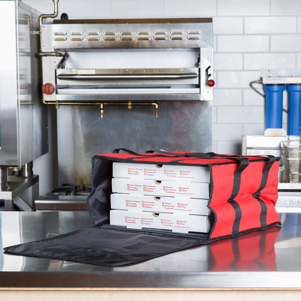 "Choice Insulated Pizza Delivery Bag, Red Nylon, 16"" x 16"" x 8"" - Holds Up To (4) 12"" or 14"" Pizza Boxes Main Image 4"