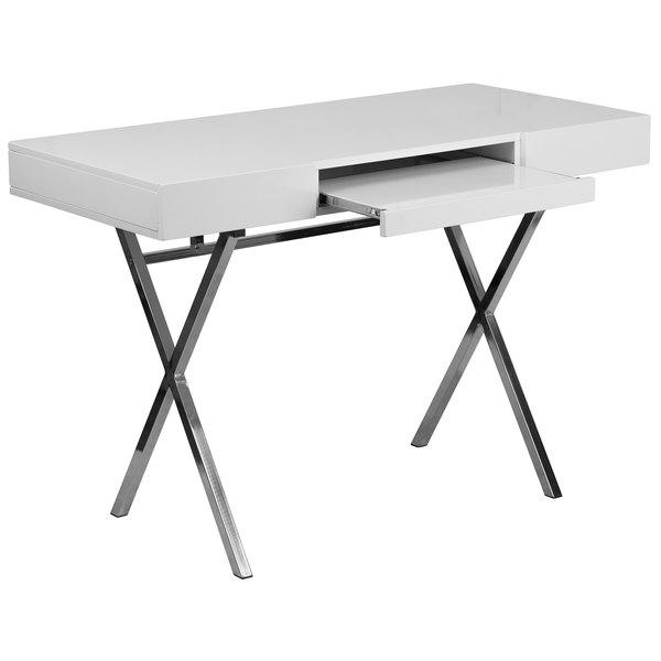 "Flash Furniture NAN-JN-2960-GG White Laminate Computer Desk with Keyboard Tray and Box Drawers - 45"" x 22"" x 31"" Main Image 1"