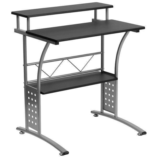 Flash Furniture NAN-CLIFTON-BK-GG Black Laminate Computer Desk with ...