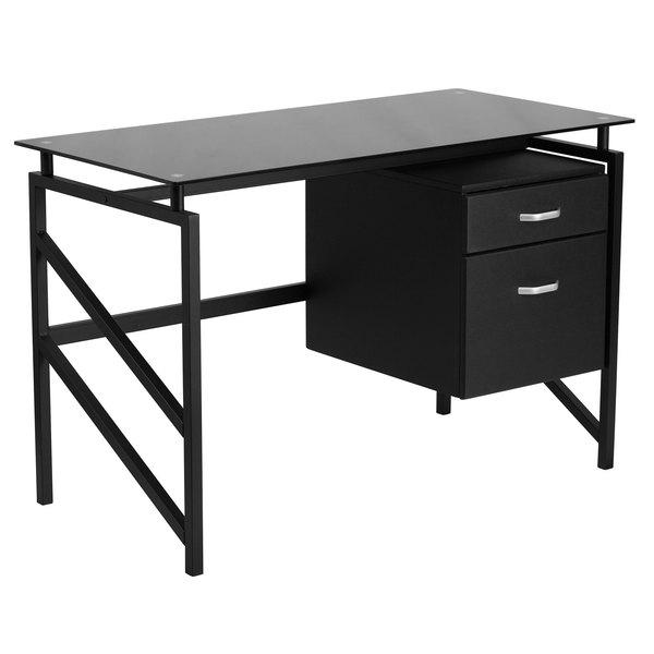 "Flash Furniture NAN-WK-036-GG Black Glass Desk with 2 Drawer Pedestal - 46"" x 23"" x 30"" Main Image 1"
