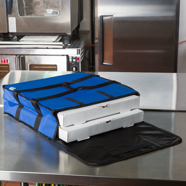 "Choice Soft-Sided Insulated Pizza Delivery Bag, Blue Nylon, 18"" x 18"" x 5"" - Holds Up To (2) 16"" Pizza Boxes or (1) 18"" Pizza Box"