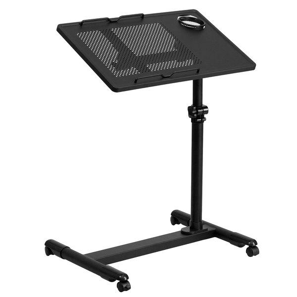 """Flash Furniture NAN-JG-06B-BK-GG Black Adjustable Height Mobile Steel Computer Desk - 22 1/2"""" x 17 1/2"""""""