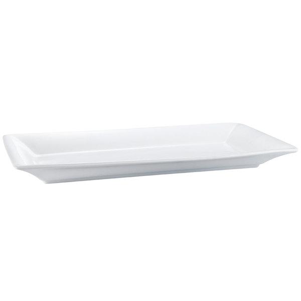 "CAC MX-RT20 20"" x 11"" Bright White Rectangular Porcelain Tray - 6/Case"