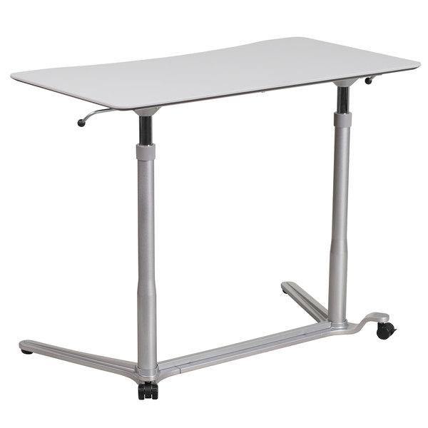 "Flash Furniture NAN-IP-6-1-GG Light Gray Adjustable Height Computer Desk - 37 1/2"" x 20 1/2"""