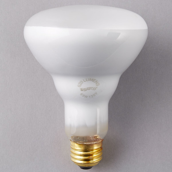 Satco S3408 65 Watt Frosted Incandescent Flood Lamp General Service Light  Bulb   130V (BR30)