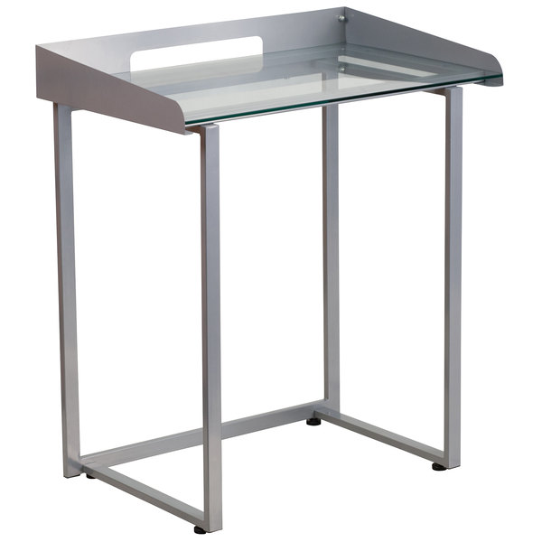 """Flash Furniture NAN-YLCD1234-GG Tempered Glass Desk with Silver Metal Frame and Wire Cutout - 28"""" x 18"""" x 32"""""""