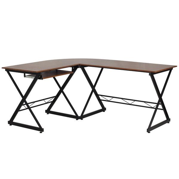 "Flash Furniture NAN-WK-109-GG Teakwood Laminate Computer Desk with Keyboard Tray - 87"" x 50"" x 30"""