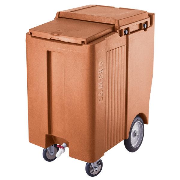 Cambro ICS200TB157 SlidingLid™ Coffee Beige Portable Ice Bin - 200 lb. Capacity Tall Model Main Image 1