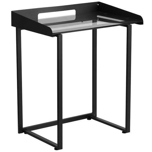 "Flash Furniture NAN-YLCD1233-GG Tempered Glass Desk with Black Metal Frame and Wire Cutout - 28"" x 18"" x 32"" Main Image 1"
