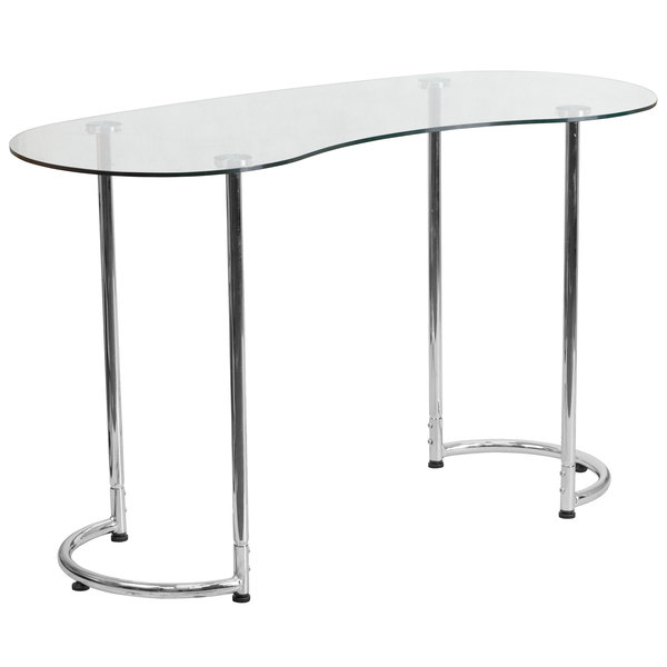 "Flash Furniture NAN-YLCD1235-GG Tempered Glass Desk with Chrome Finish Metal Frame - 47"" x 21"" x 29"" Main Image 1"