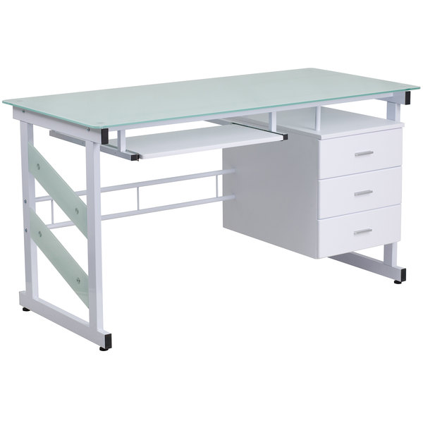 """Flash Furniture NAN-WK-017-GG White Tempered Glass Desk with 3 Drawer Pedestal and Keyboard Tray - 55"""" x 33"""" x 30"""""""