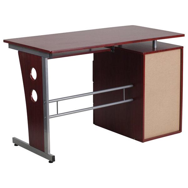 Flash Furniture Nan Wk 008 Gg Mahogany, Flash Furniture Computer Desk With 3 Drawer Pedestal