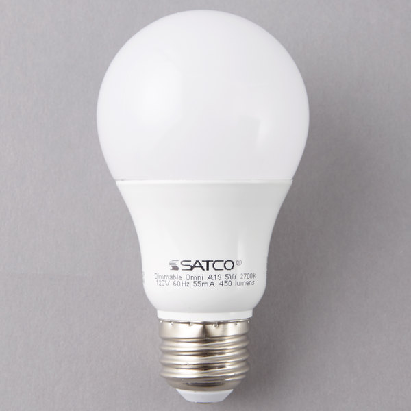 Satco S29830 6 Watt (40 Watt Equivalent) Frosted Warm White Multi-Directional LED Light Bulb - 120V (A19) Main Image 1